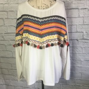 BooHoo White Embroidered Top with Tassels Size 18